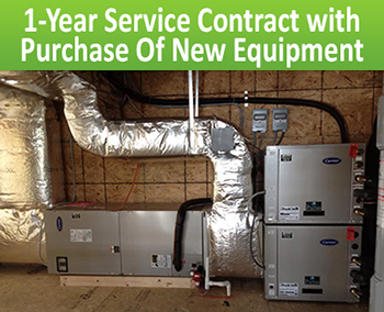 Image of HVAC System with a caption for 1 Year Service Contract