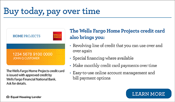Banner detailing the benefits of a Wells Fargo Home Projects Credit Card