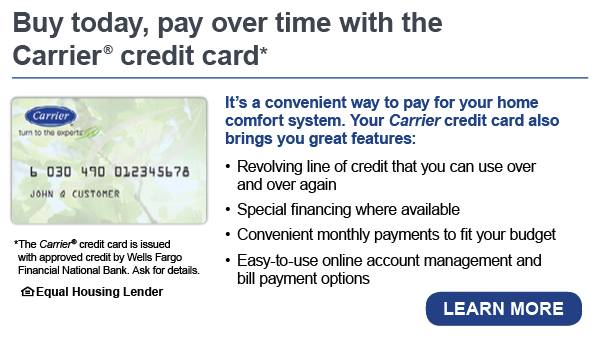 Banner detailing the benefits of a Carrier Credit Card
